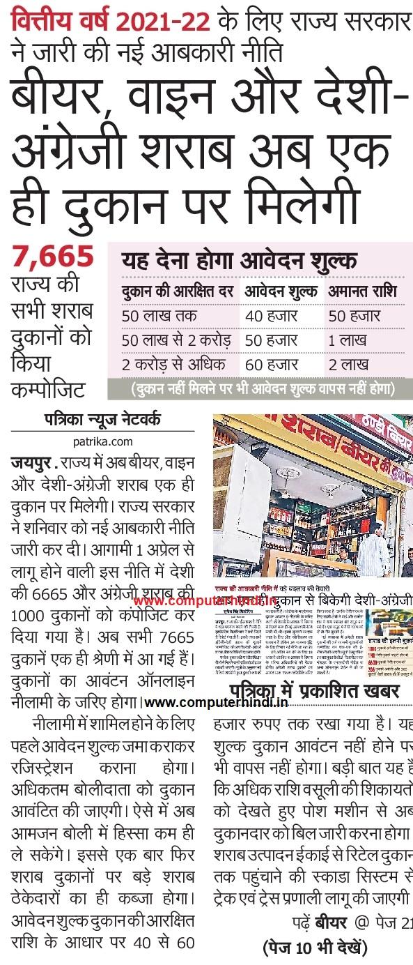 Rajasthan Wine Shop Tender News 2021, Rajasthan Wine Shop List 2021, How to apply wine shop